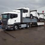Entrega de 4 tractoras de ocasión Scania R420 que se van a Iraq.